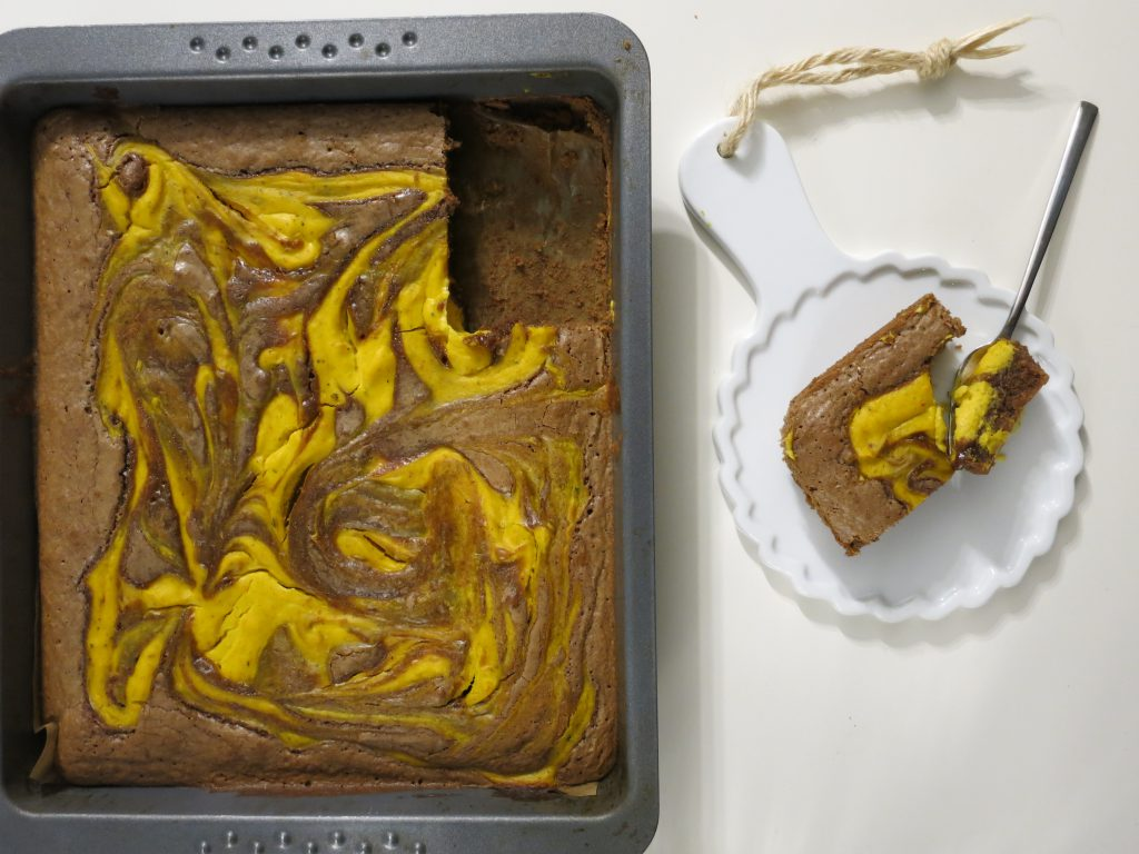 Pumpkin Spice Cream Cheese Brownie